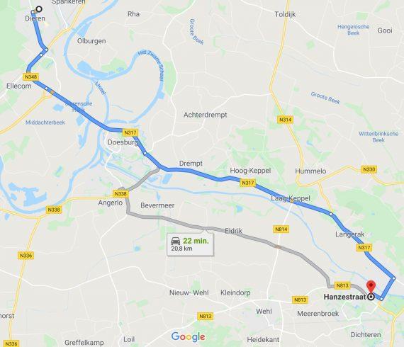 Met de auto duurt de reis van Dieren naar Doetinchem tussen de 20 en 25 minuten.
